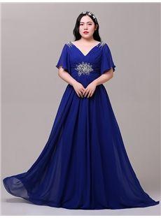 Formal V-Neck Blue Pleats A-line Natural Cap Sleeves Beading Dress