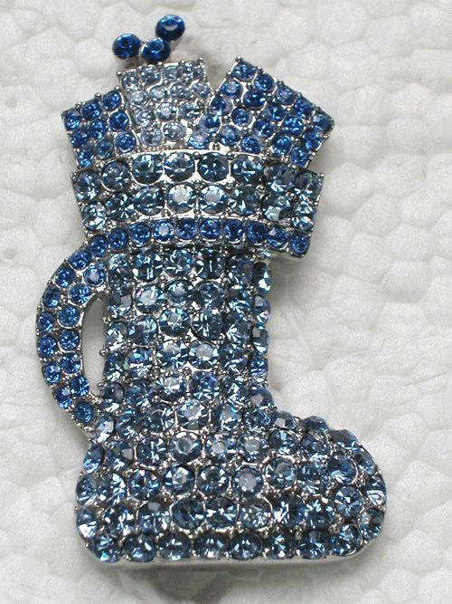 12 piece/lot сапфир и лёгкие сапфир кристалл горный хрусталь броши обувь булавка брошь ювелирные изделия подарок C677 B