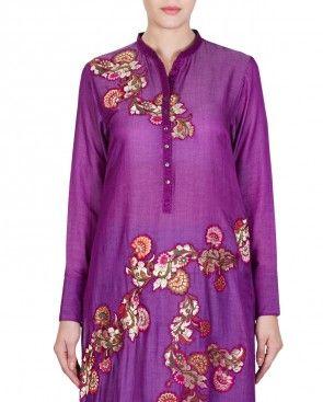 Purple Embroidered Kurta Set