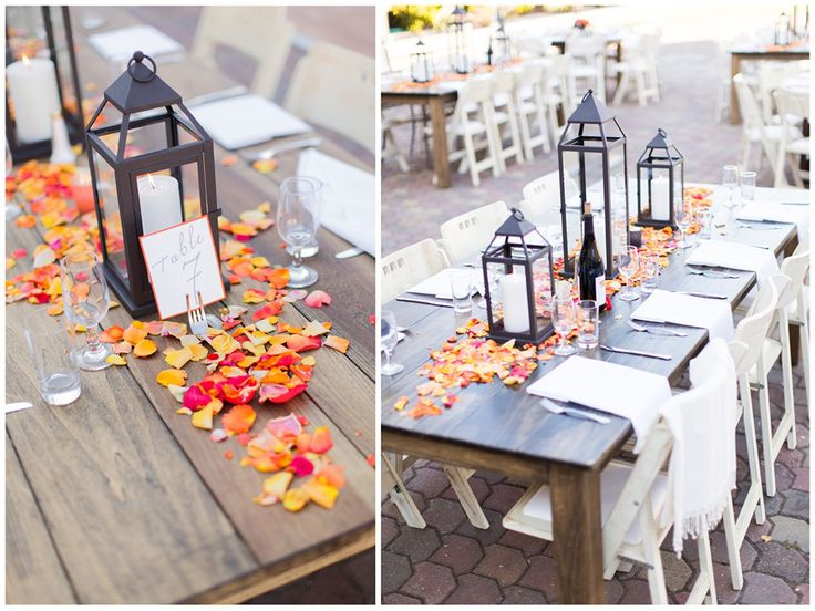 Beautifully Classic Orange and Grey Wedding Lantern centerpieces.