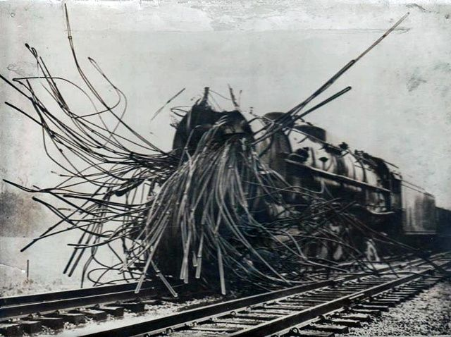 An early R'lyehian steam train after a boiler explosion.35 Vintage Creepy Photos You Just Can't Explain