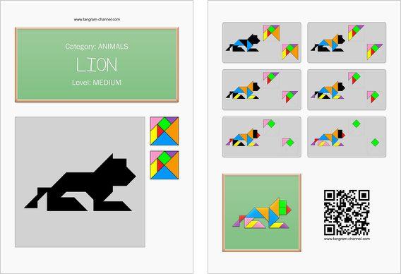 tangram worksheet 102  lion  this worksheet is available