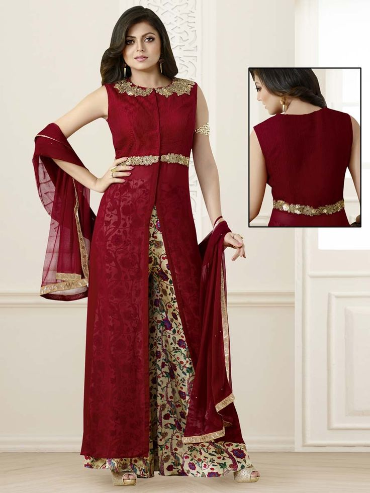 Beauteous maroon color sleeveless georgette kameez with golden sequins ...