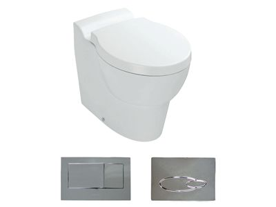 Ove Wall Faced Toilet with bevel flush button  Features:    Bevel flush button panel (oval version option available)  In wall cistern - with support brackets  Dual flush (4.5/3L)  Back-up shut-off valve located on cistern and accessible through the flush button panel.  P-trap set out: 185mm  Open rim