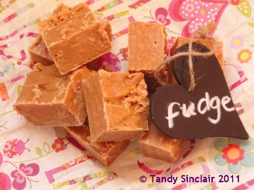 Dave used to make fudge when he was a child and so he popped in to the kitchen to help - which was great, as I could take photographs. He says this fudge is good, and I can tell you it is easy to make.