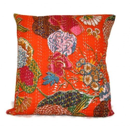 Orange Kantha Pillow