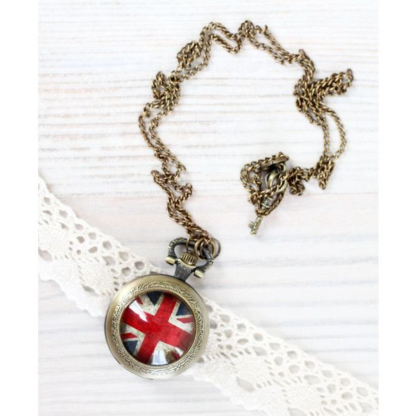 Union Jack pocket watch necklace Crown Necklace United Kingdom, UK,... ($32) ❤ liked on Polyvore featuring jewelry, necklaces, crown jewelry, pocketwatch necklace, union jack jewelry, pocket watches and pocket watch