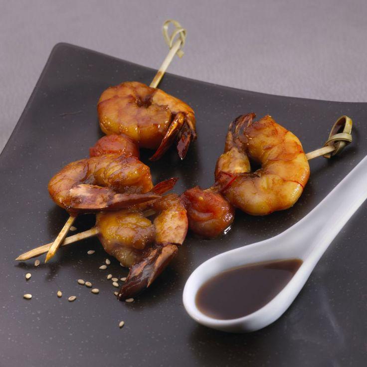 Brochettes de crevettes et caramel de soja