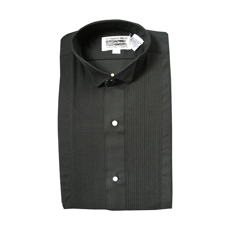 """Boy's Black Tuxedo Shirt with Wing Collar and 1/8"""" Pleats"""