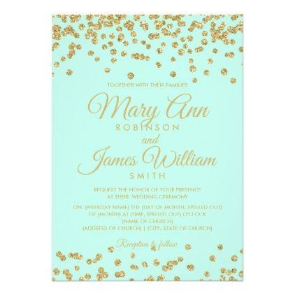 Mint  Gold Faux Glitter Confetti Elegant Wedding Card  Holiday