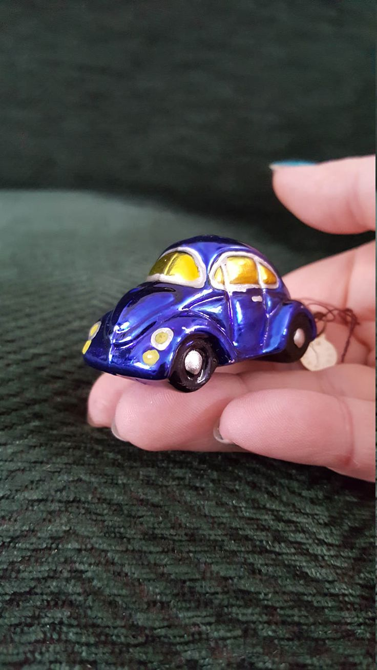 "Blown Glass mini Blue VW Car Glass Christmas Ornament- 2"" made in Poland by ukbeadsonline on Etsy"