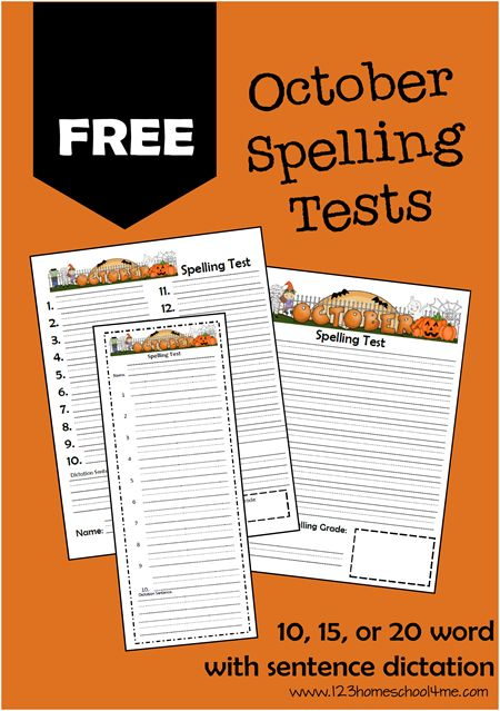 FREE October Spelling Tests                                                                                                                                                                                 More