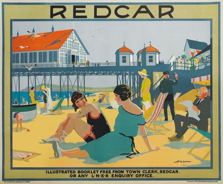 Redcar by artist Henry George Gawthorn for the London and North Eastern Railway c1930