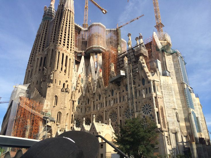 La Sagrada Familia, Barcelona. Restorations are in full force and will continue until this architectual masterpiece is fully restored