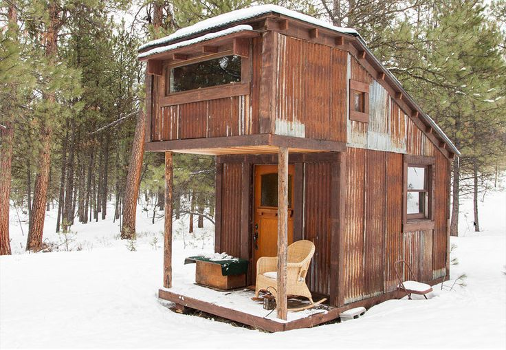 The Potomac Cabin is 8ft x 12ft with a 5ft loft, and was created by tiny-house-builder extraordinaire Charles Finn. (the ceiling inside that creates an illusion of more room is what I'm interested in}
