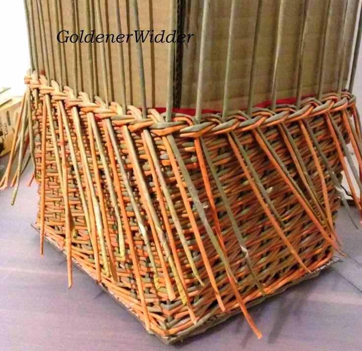 Плетение из газетных трубочек: Один из способов закрытия послойного плетения. Прямоугольная форма. Загибка.