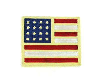 Enameled American Flag Pin in 14 Karat Gold