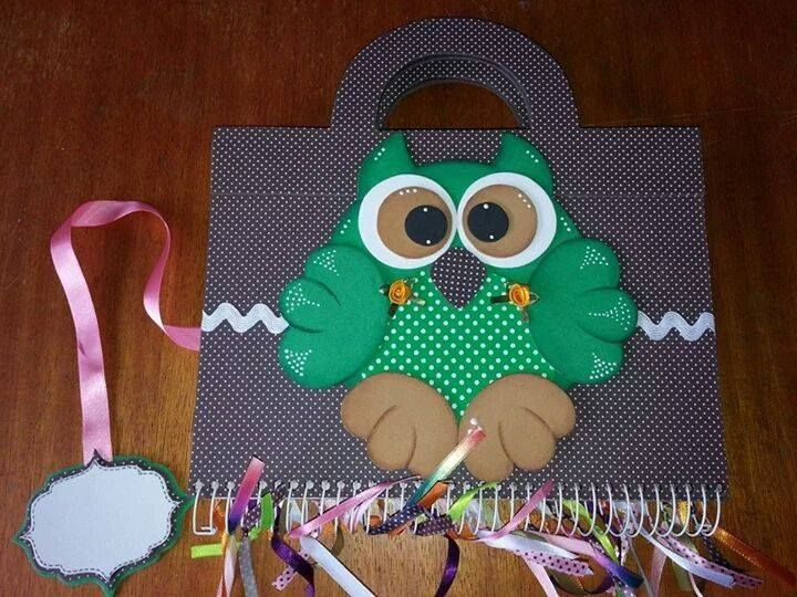 molde sacola caderno coruja