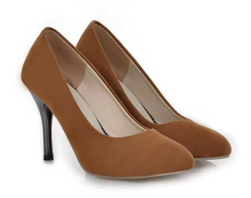 2015 women new fashion spring summer 9cm high-heeled pumps thin heels scrub solid color shoes large plus size 40-43