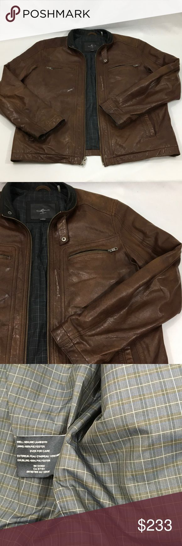 Cole Haan Brown Lambskin Leather Jacket Size M Worn a few times Cole Haan Jackets & Coats
