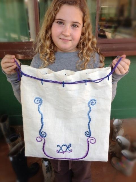 Waldorf ~ 4th grade ~ Handwork ~ Chain Stitch Embroidered Bag ~ original design: Chain Stitch, Embroidered Bag, 4Th Handwork, Waldorf Waldorf School, Waldorf Grade, Craft Ideas, 4Th Grade