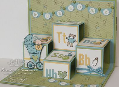 """handmade babyt card from Artisan posts .... pop-up boxes that look like alphabet building  blocks ... soft colors: green, blue and yellow ... adorable """"bunting""""  with sentiment ... wonderful card! ... Stampin' Up!"""