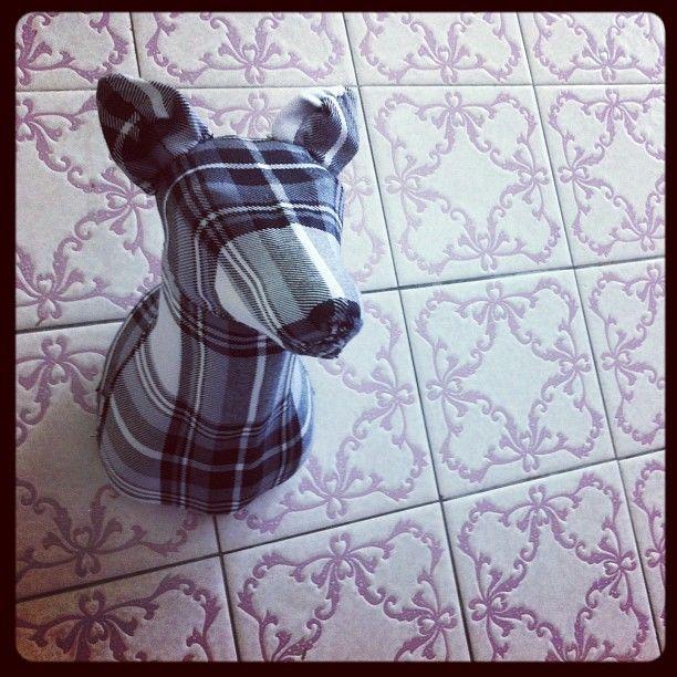 Flannel Fox (Black & White) - Small #blackandwhite #plaid #fabric #taxidermy #fauxtaxidermy #mkd #theworkofmkd