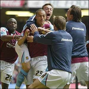Bobby Zamora celebrates his winning goal for West Ham over Preston North End in the 2004-05 Championship playoff final at the Millennium Stadium
