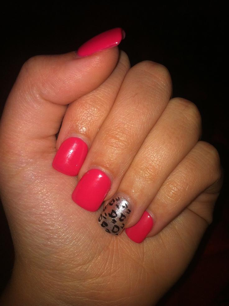 Bright pink acrylic nails