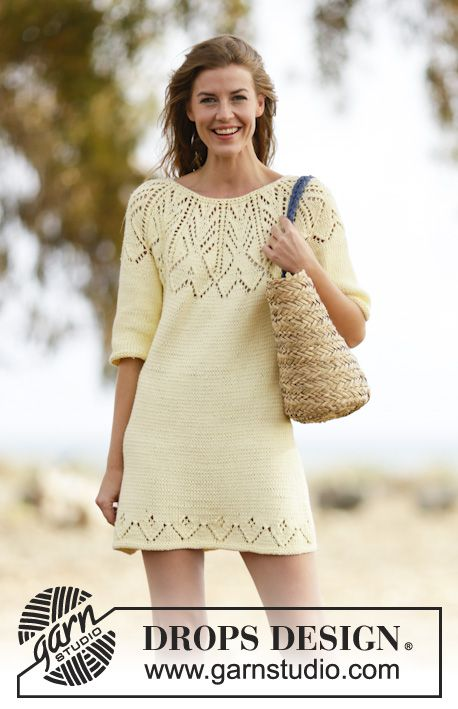"""Knitted DROPS dress with short sleeves, round yoke and lace pattern in """"Paris"""". Worked top down. Size: S - XXXL. ~ DROPS Design"""