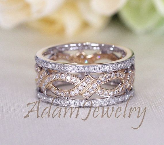 Unique Two Tone Full Eternity Diamonds Ring Solid 14K White/ Yellow Gold Engagement Ring / Wedding Ring/ Anniversary Ring