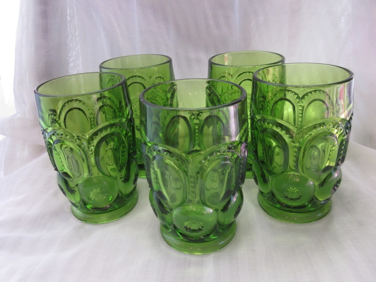 Moon And Stars Green Glass Tumbler Lot - aren't these pretty!