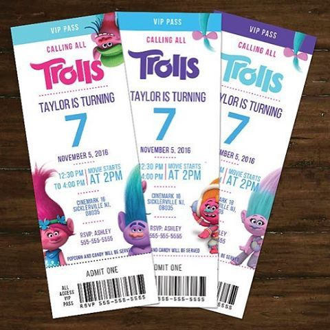 Super cute movie invite tickets. We can print or send you a printable version. #tamaramastudios #trolls #trollparty #trollsbirthday