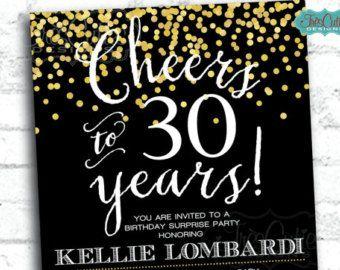 30. Geburtstag Einladung Gold Glitter Any Age Von DesignedbyDaniN