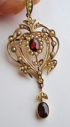 Edwardian 9ct Gold Pendant Brooch Necklace Set with Garnets Seed Pearls C1905 | eBay