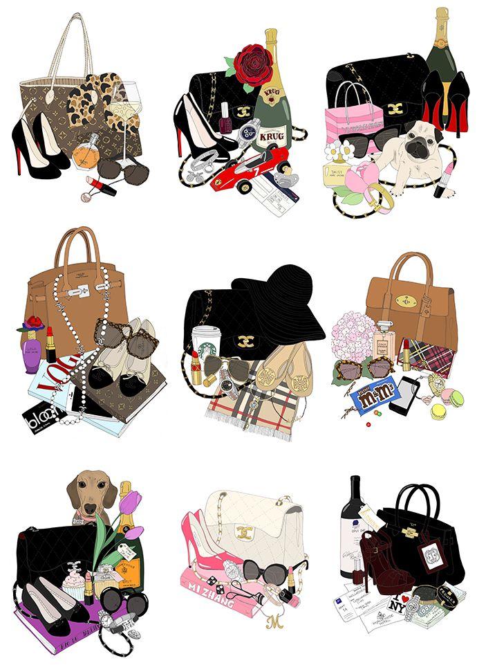 EmmaKisstina Illustrations by Kristina Hultkrantz: Custom What's in my Bag Illustrations