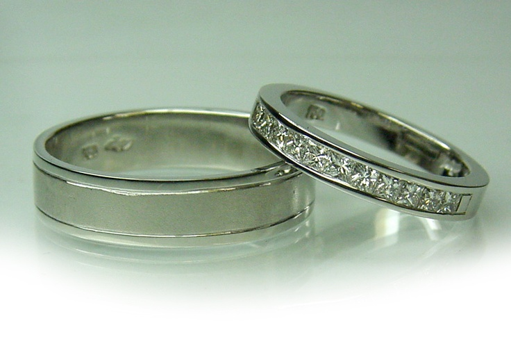 Chibnalls custom 18ct gold wedding rings, his with brushed finish center and her's with 11 princess cut channel set diamonds totaling 0.33ct.