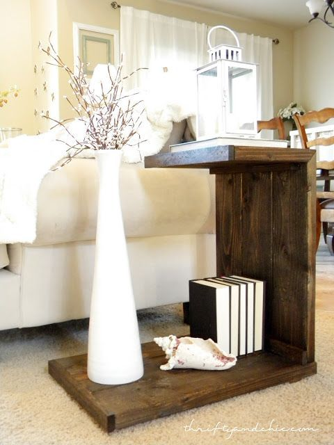 Thrifty and Chic - DIY Projects and Home Decor - Building a unique L-shaped side table (could also be scaled up to make a portable laptop desk where the foot slides under the couch/bed).