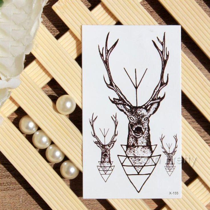 €0.99 1 Pc Tatouage Sticker Métallique Hydroresistant Temporaire Crâne Art du Corps Décoration de la Tête du Cerf en 6*10.5cm - NeeJolie.fr