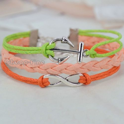 1pcs Bridesmaid Gift Colorful Silver Tone Infinity Anchor Charm DIY Bracelet | eBay