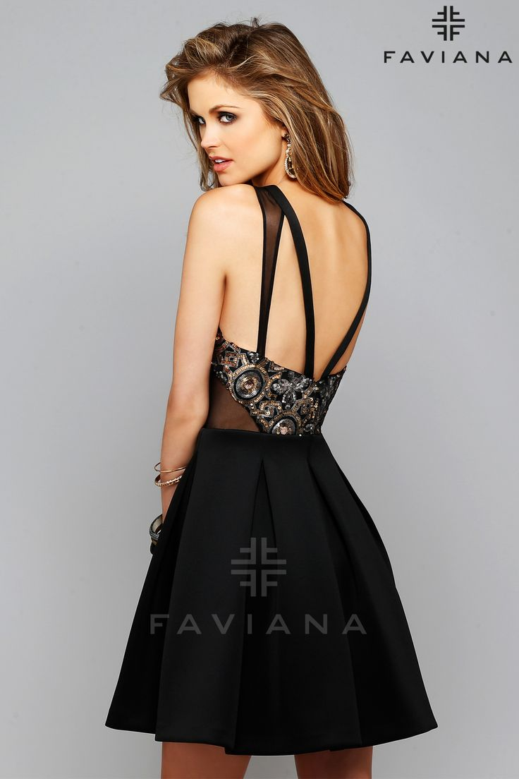 Short little black party dress with back cut outs - Patterned Sequin Mesh Cutout Dress By Faviana Homecoming Dresses