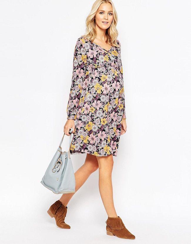 8bee2059cf8 8 vestidos premamá para dar la bienvenida al otoño | nuestro hogar a y d |  Maternity dresses, Dresses y Floral skater dress