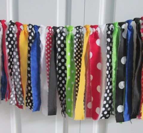 Rag Tie Garland Mickey Mouse Clubhouse by backyardprims on Etsy