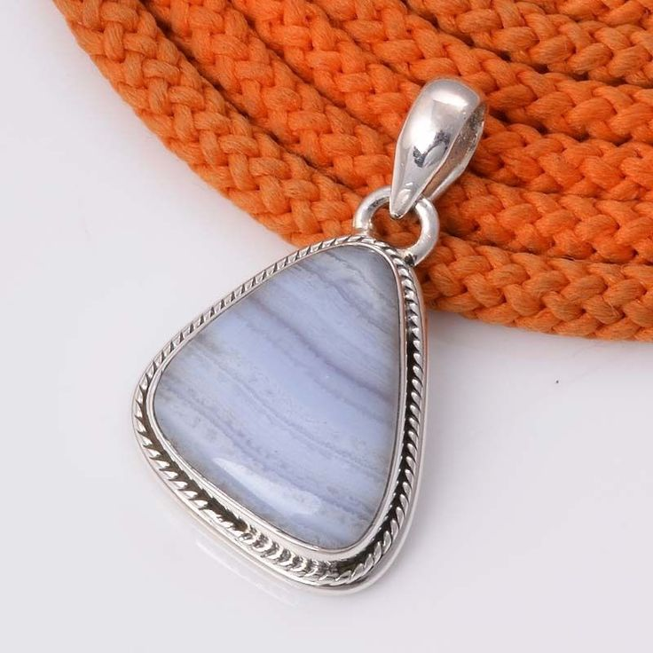 925 STERLING SILVER NATURAL BLUE LACE AGATE PENDNAT 5.25g DJP4469 #Handmade #Pendant