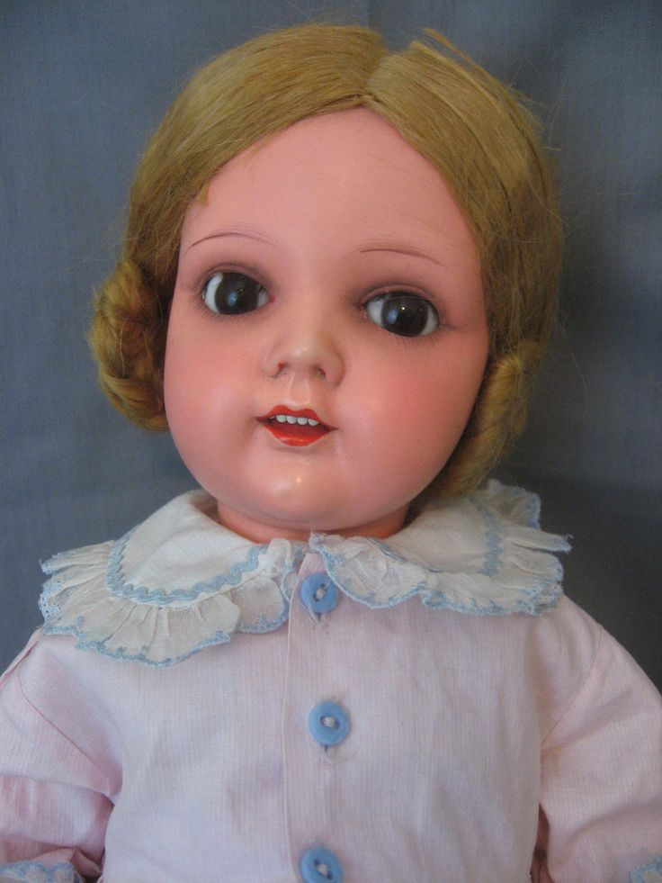 """Poland Celluloid Doll Marked """"Ask"""" Circa 1920's with Wig Teeth 