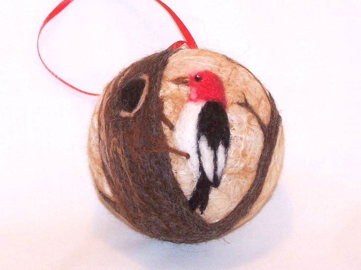 Needle Felted Christmas Ornament - Woodpecker - Bird Ornament - Bird on Tree  - Gift Item - Felt Christmas Ornament by syodercrafts on Etsy https://www.etsy.com/listing/482187410/needle-felted-christmas-ornament