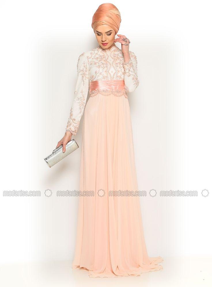 Sequin Evening Dress - Powder - Asbella Abiye