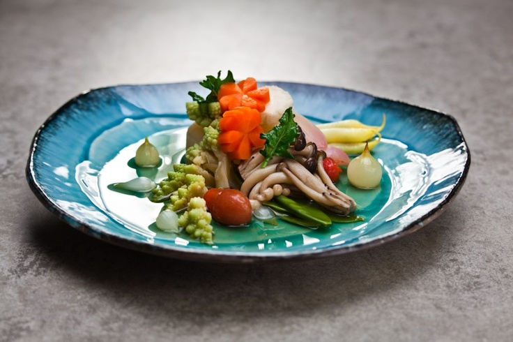 Shojin yasai  A colourful cocktail of steamed vegetables in subtle dashi broth with tones of mirin and agedashi tofu