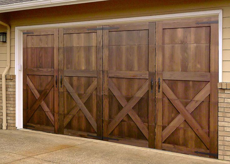 Garage skins garageskins 2 car mahogany system 7 39 high for Wood veneer garage doors