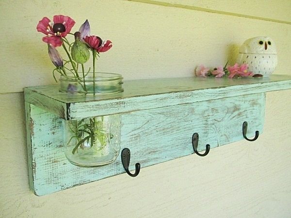 Rustic wood shelf, distressed shabby chic, Aqua, cottage beach home decor, wall shelves. $42.00, via Etsy. How cute!